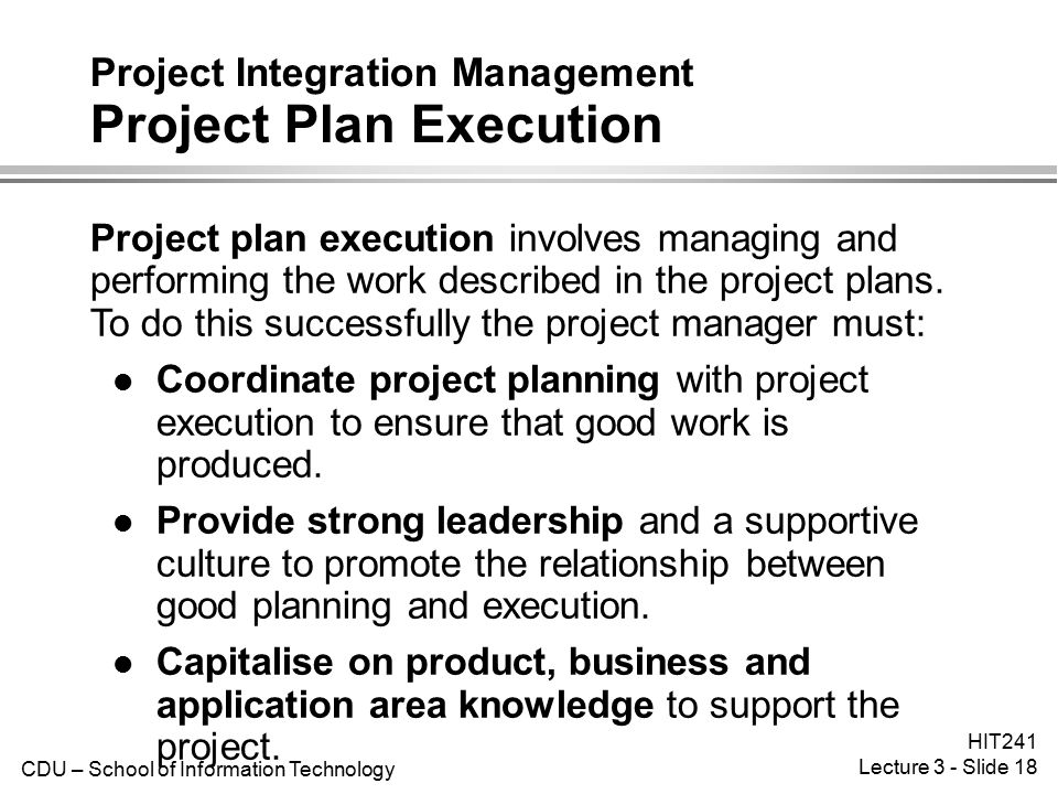 Project Integration Management Project Plan Execution