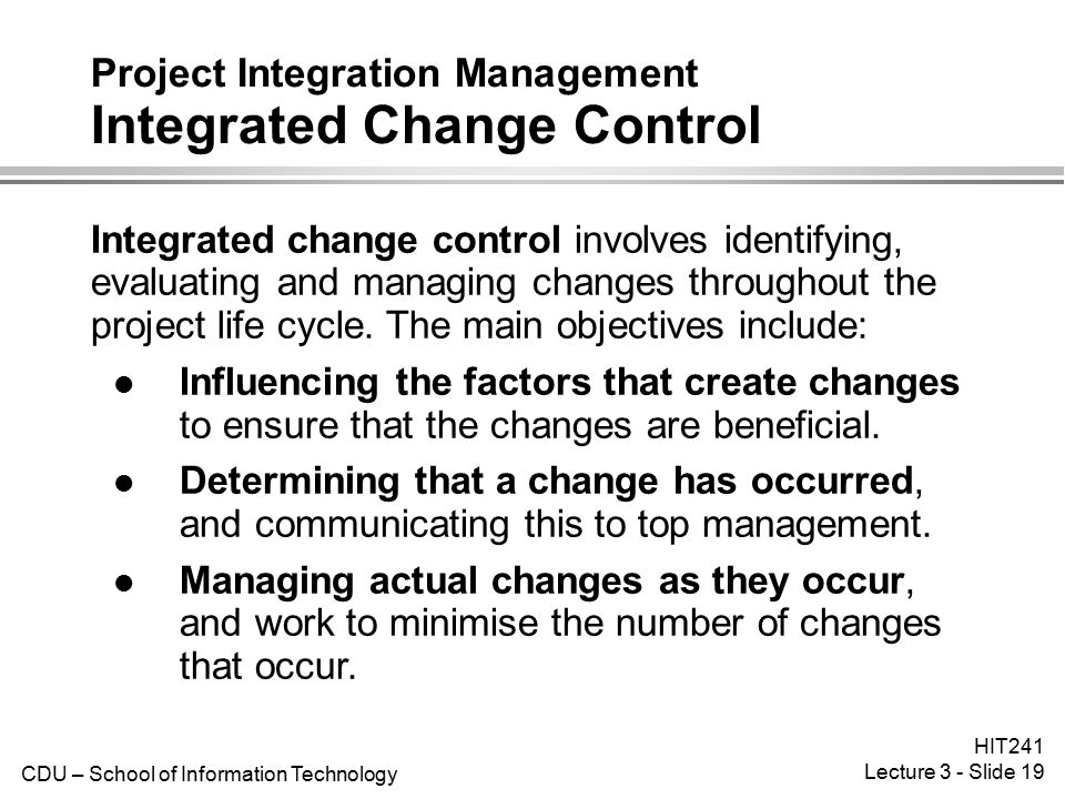 Project Integration Management Integrated Change Control