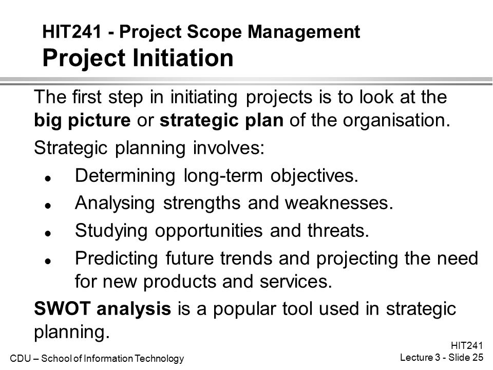 HIT241 - Project Scope Management Project Initiation