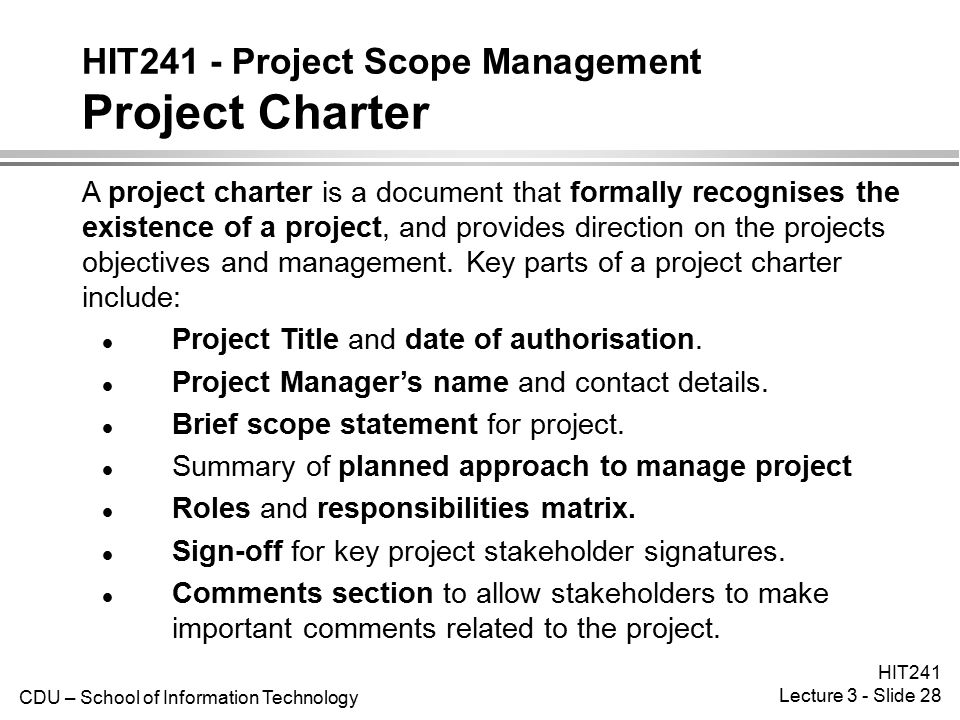 HIT241 - Project Scope Management Project Charter
