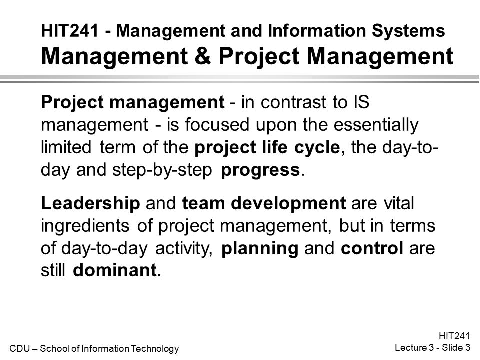 HIT241 - Management and Information Systems Management & Project Management