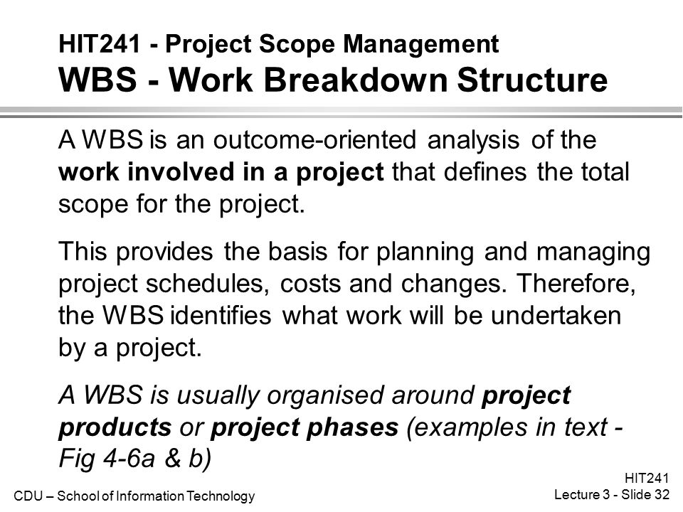 HIT241 - Project Scope Management WBS - Work Breakdown Structure