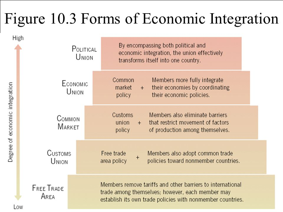 Figure 10.3 Forms of Economic Integration