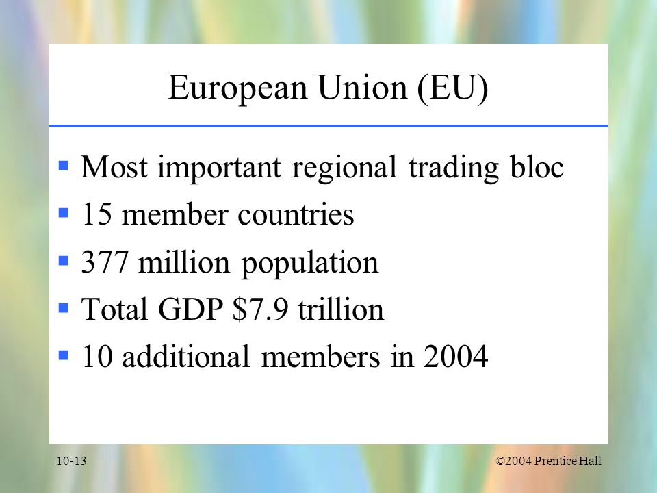 European Union (EU) Most important regional trading bloc