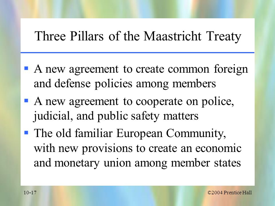 Three Pillars of the Maastricht Treaty