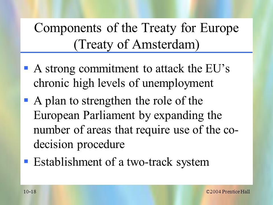 Components of the Treaty for Europe (Treaty of Amsterdam)