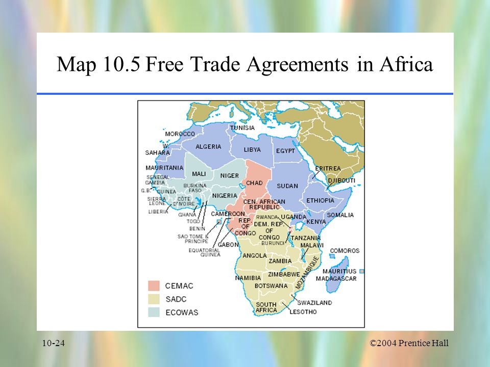 Map 10.5 Free Trade Agreements in Africa