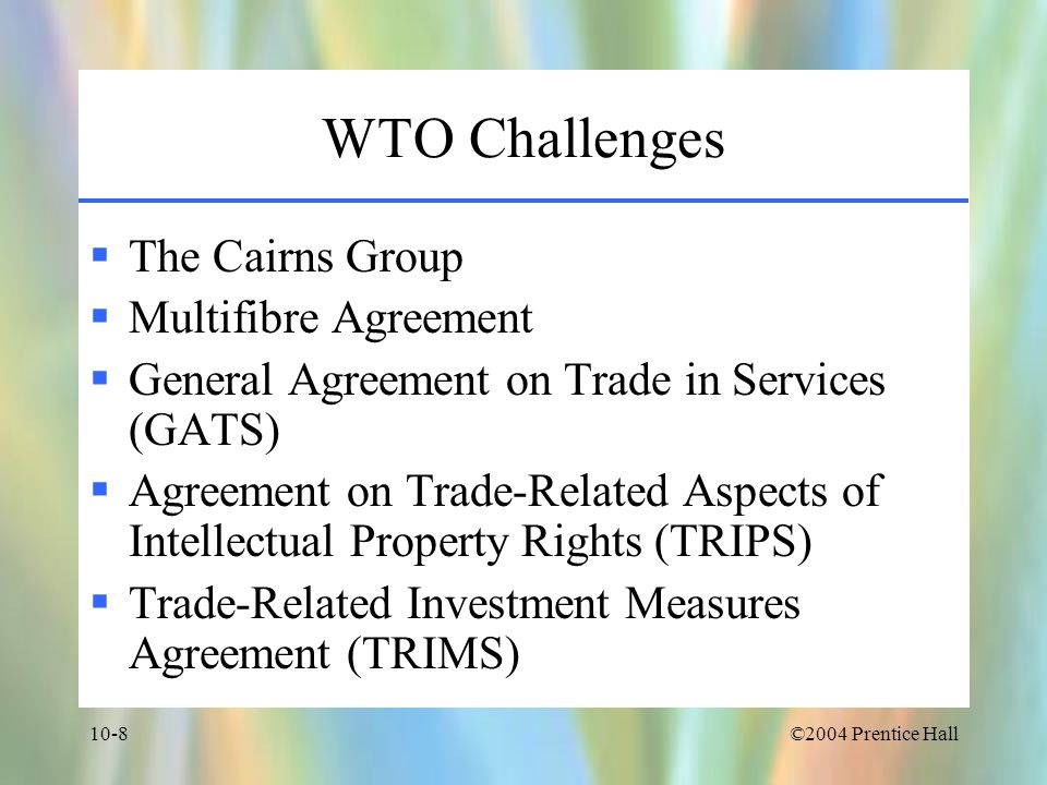 WTO Challenges The Cairns Group Multifibre Agreement