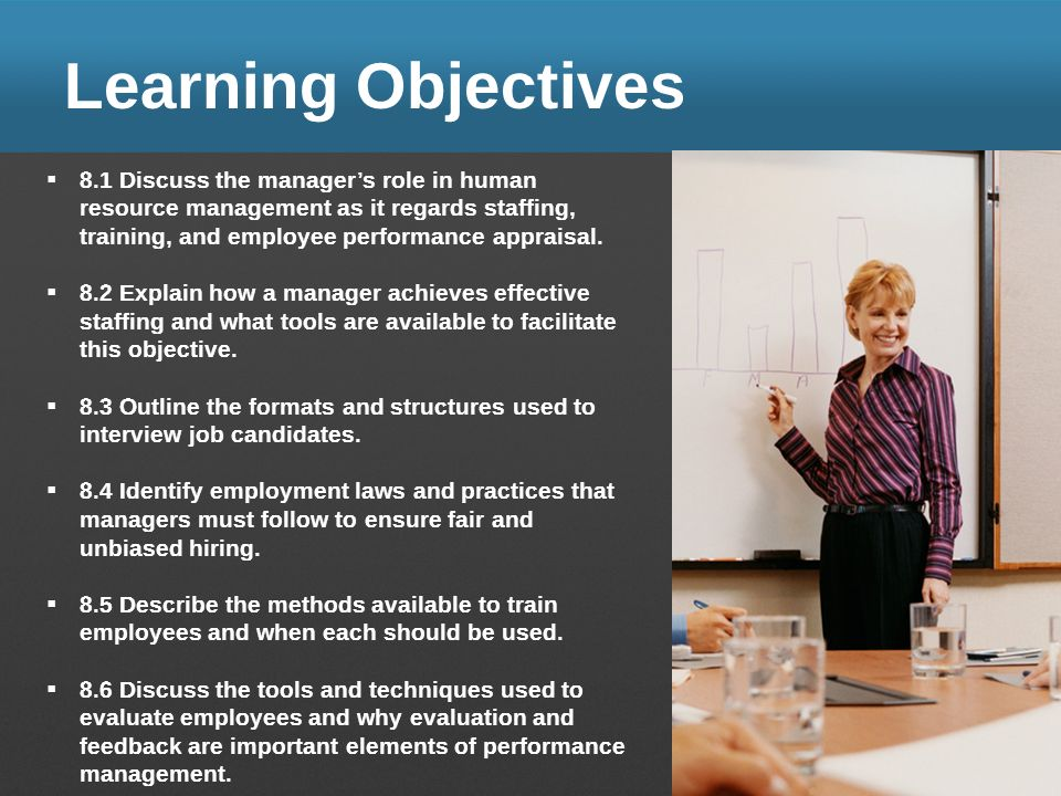 Learning Objectives 8.1 Discuss the manager's role in human resource management as it regards staffing, training, and employee performance appraisal.
