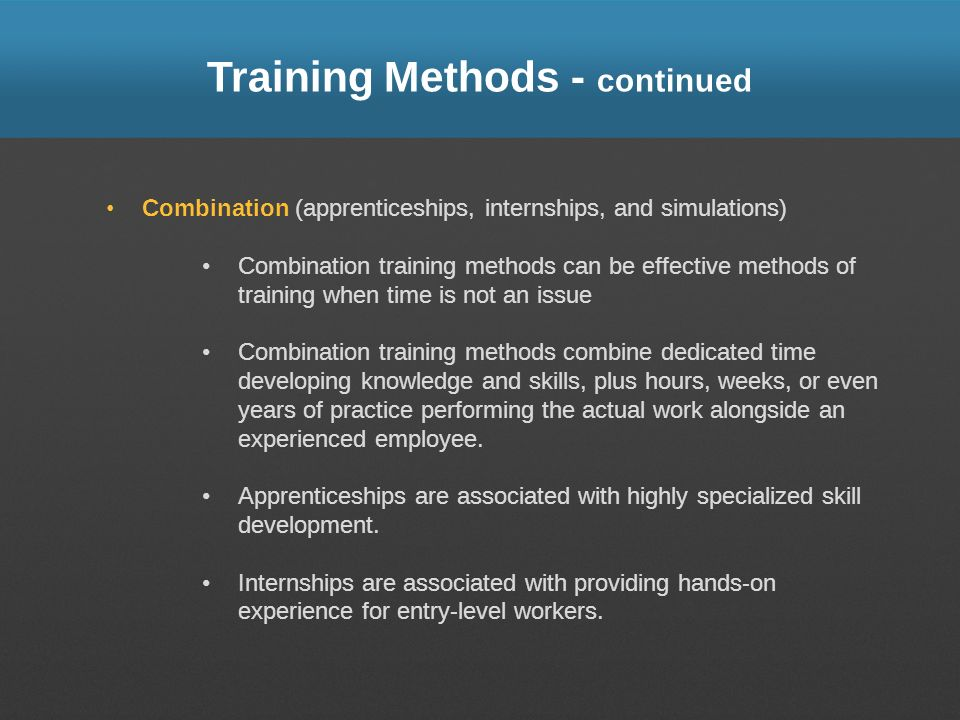 Training Methods - continued