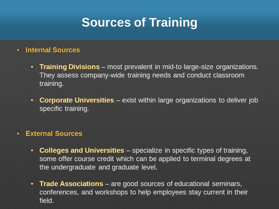 Sources of Training Internal Sources