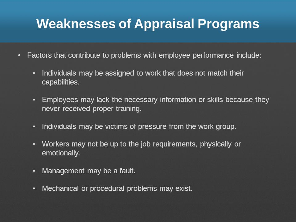 Weaknesses of Appraisal Programs