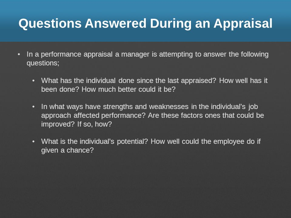 Questions Answered During an Appraisal