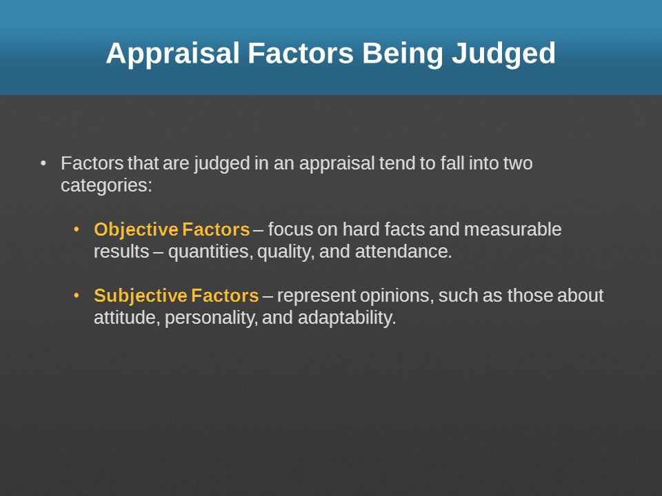 Appraisal Factors Being Judged