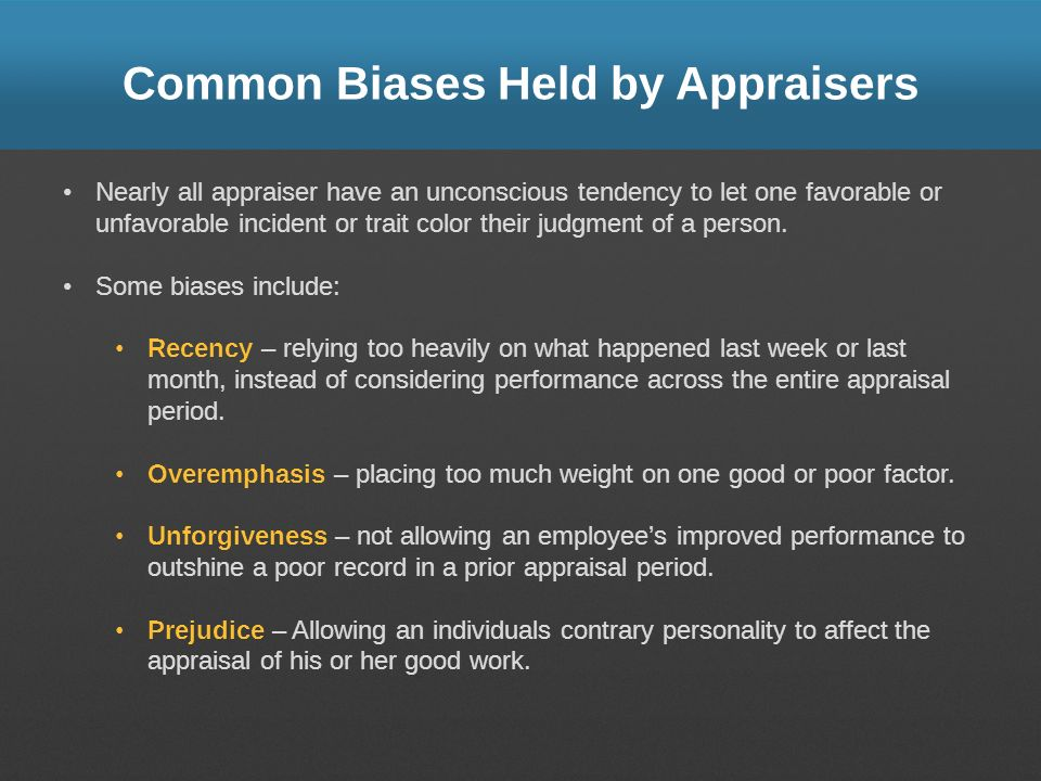 Common Biases Held by Appraisers