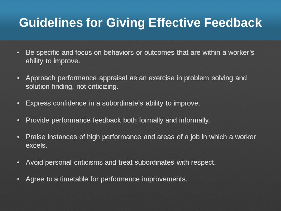 Guidelines for Giving Effective Feedback