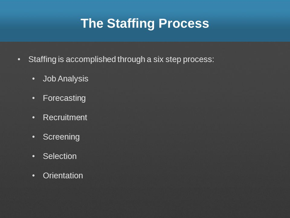 The Staffing Process Staffing is accomplished through a six step process: Job Analysis. Forecasting.