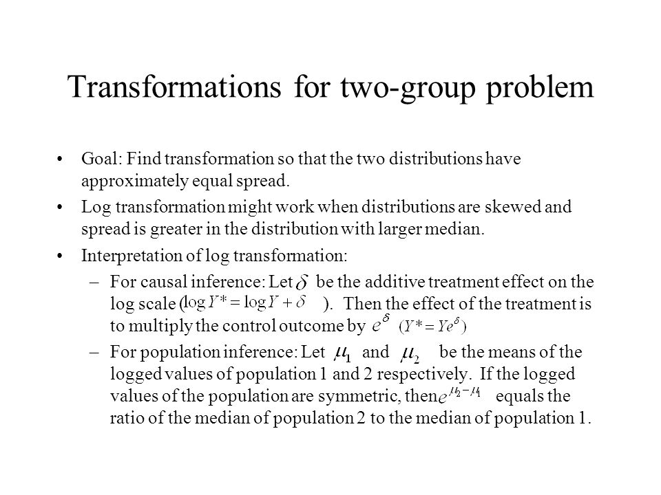 Transformations for two-group problem