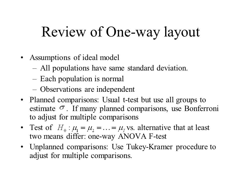 Review of One-way layout