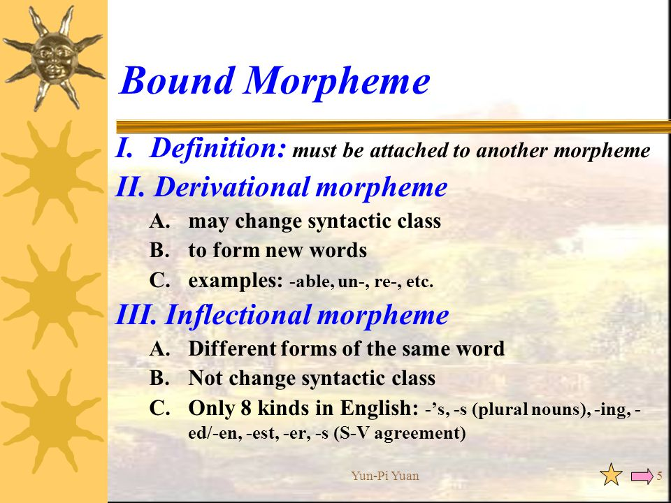 allomorph inflection and noun plural morpheme Man+plural or go+past at the morpheme level are lealized as men and went at the morph level in my opinion, morphems and phenemes are abstract and morphs and phones are concrete one thing we indicate phone like this [a] and phoneme like this /a.