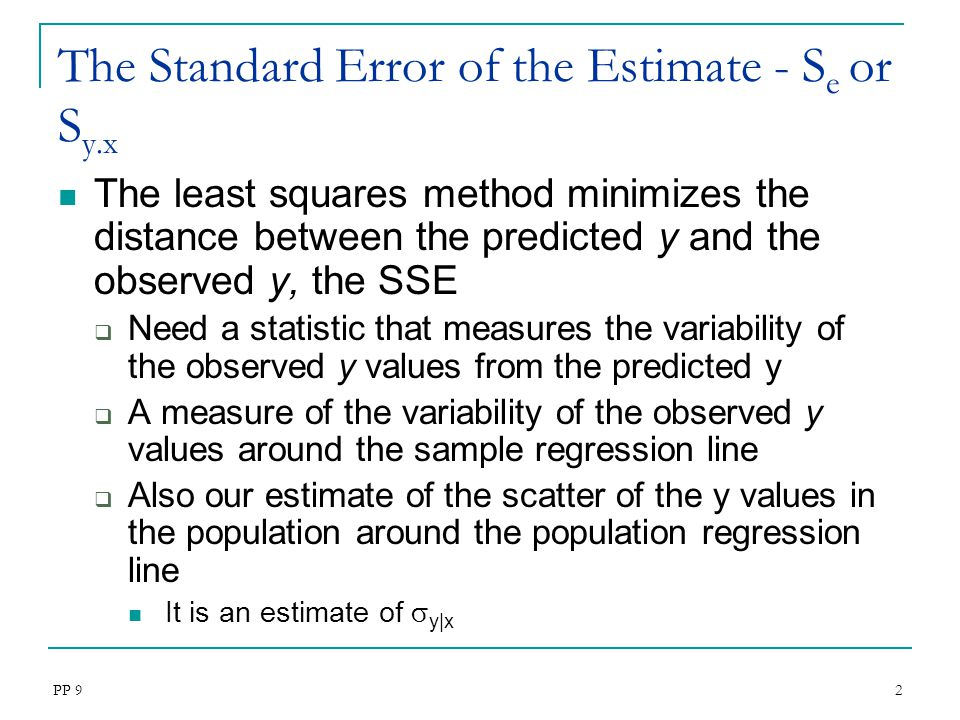 The Standard Error of the Estimate - Se or Sy.x