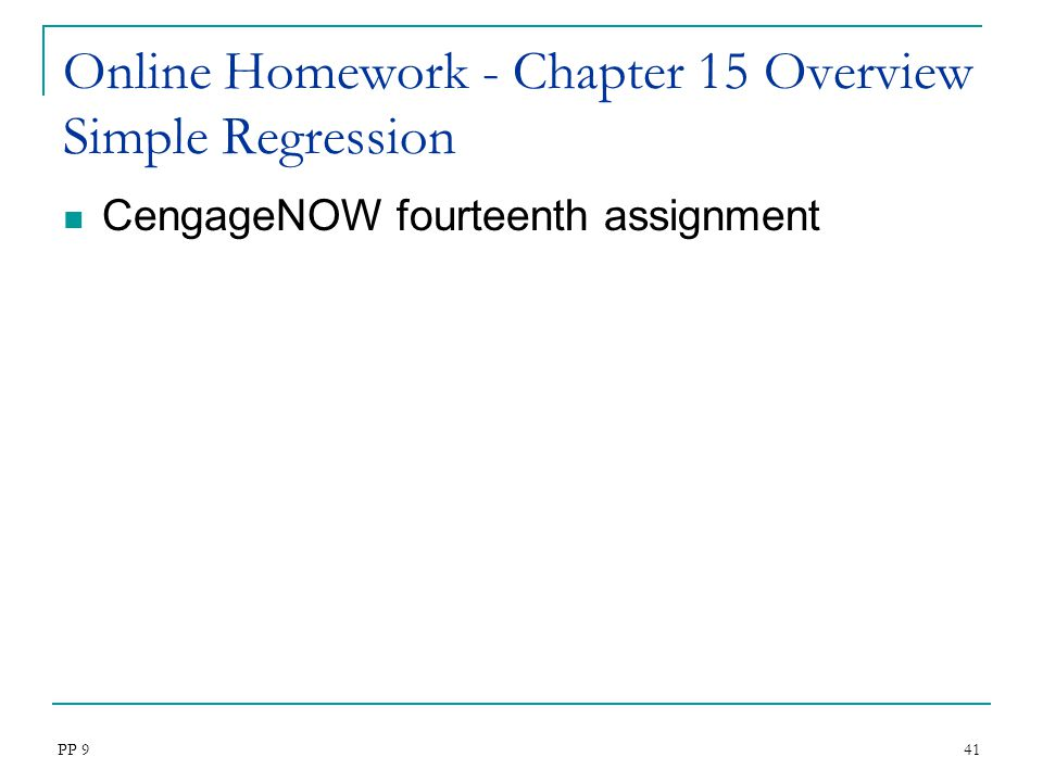 Online Homework - Chapter 15 Overview Simple Regression