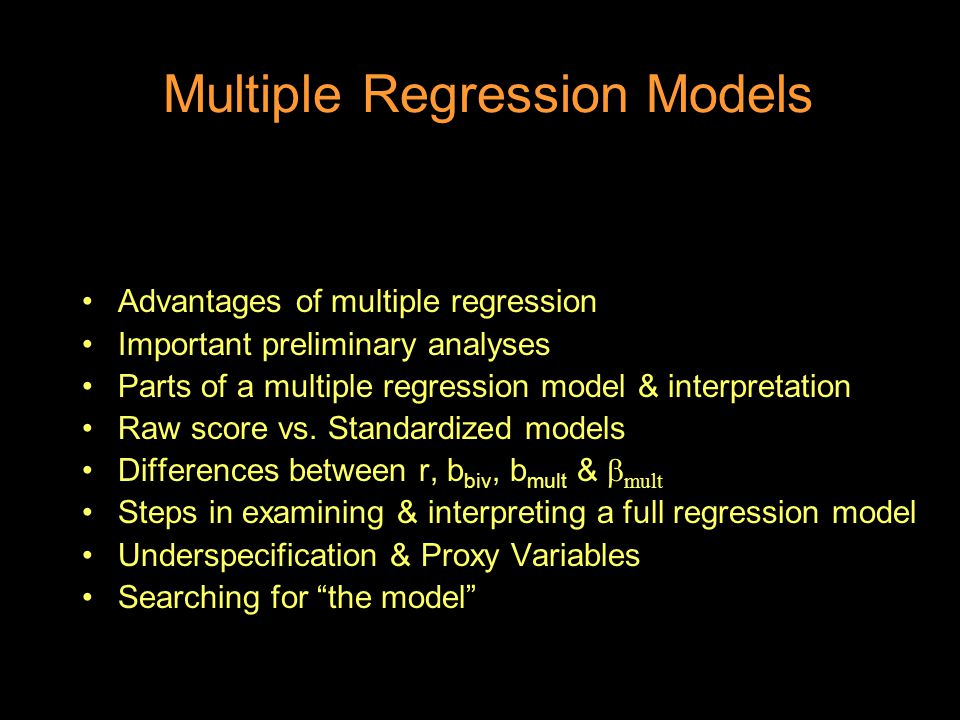 multiple regression model Multiple regression analysis is a powerful technique used for predicting the unknown value of a variable from the known value of two or more variables- also called the predictors.