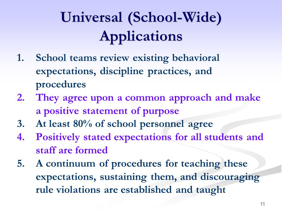 Universal (School-Wide) Applications