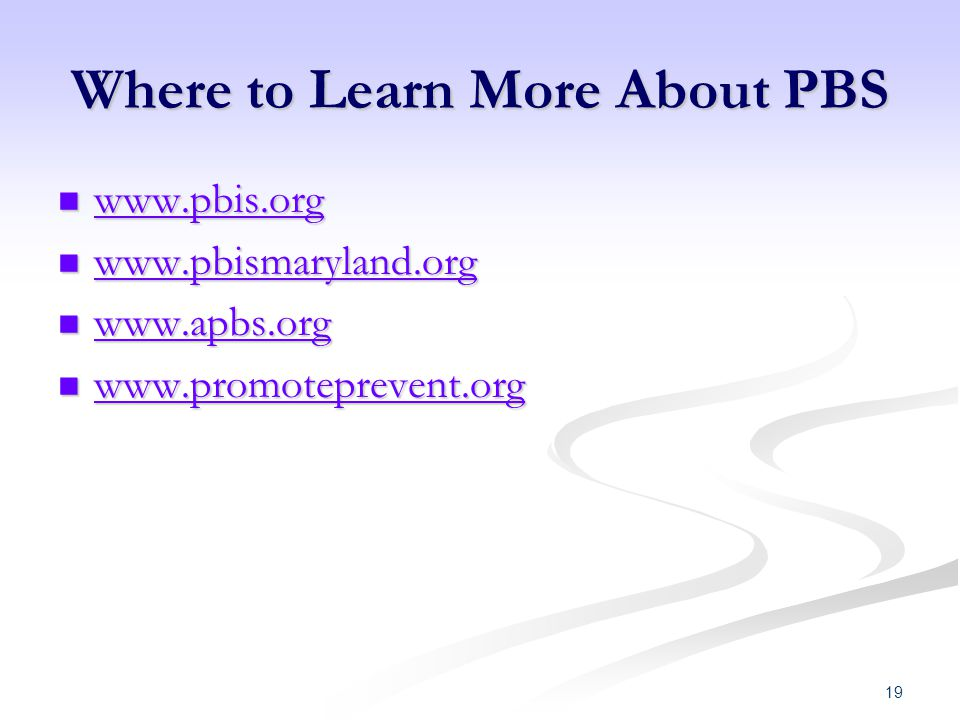 Where to Learn More About PBS