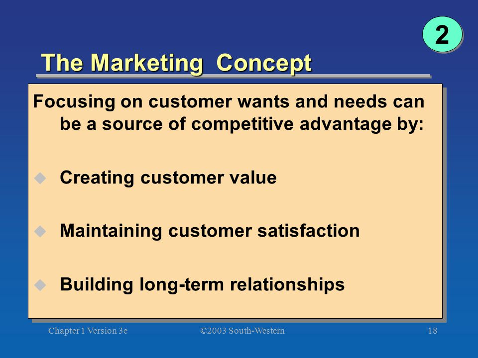 2 The Marketing Concept. Focusing on customer wants and needs can be a source of competitive advantage by: