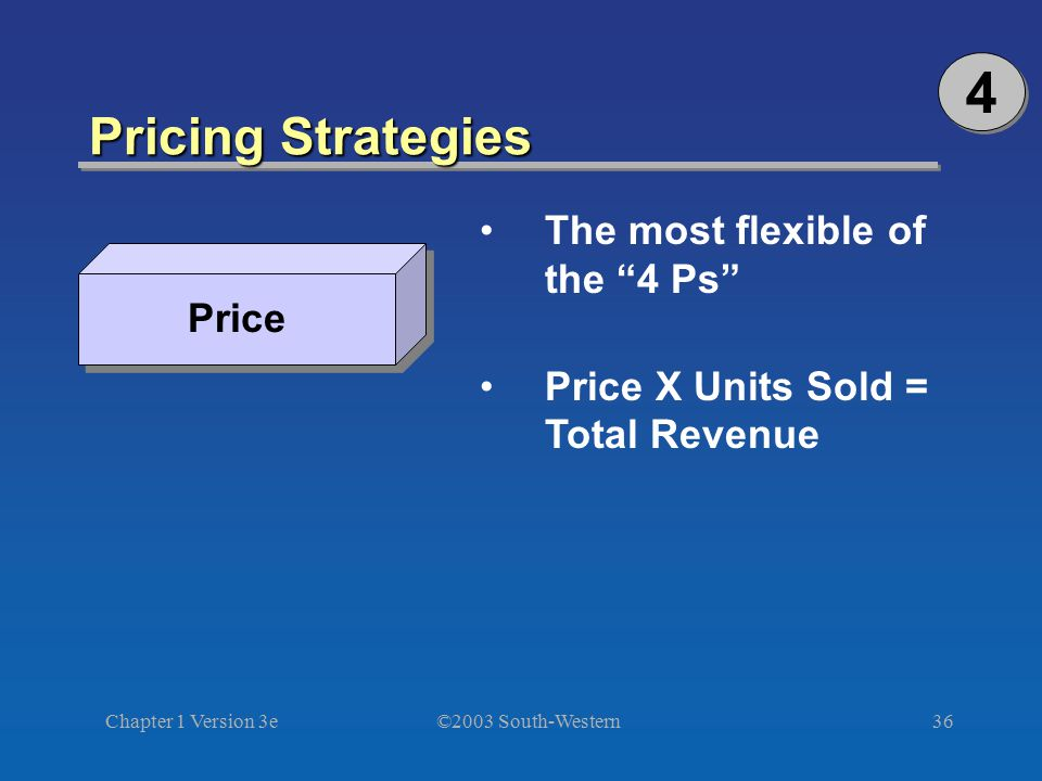 4 Pricing Strategies The most flexible of the 4 Ps Price