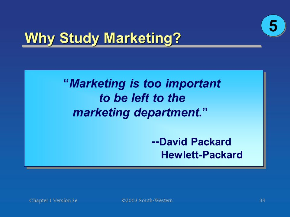 Marketing is too important marketing department.
