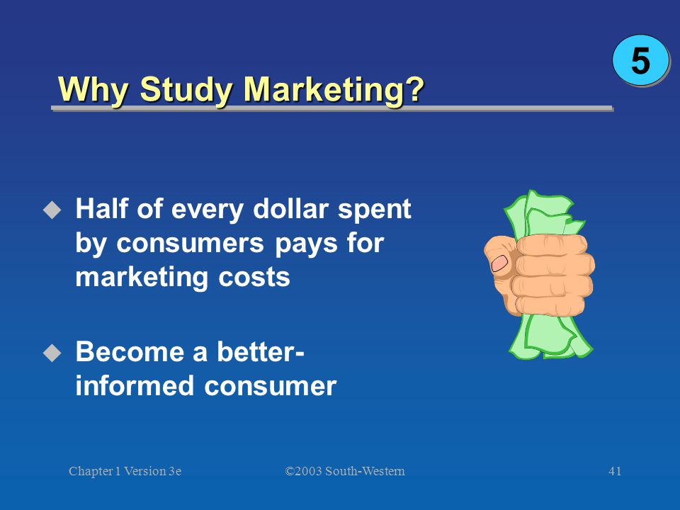 5 Why Study Marketing Half of every dollar spent by consumers pays for marketing costs. Become a better-informed consumer.