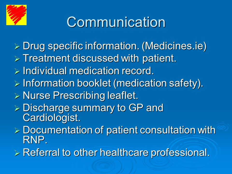 Communication Drug specific information. (Medicines.ie)