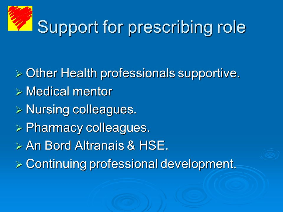 Support for prescribing role