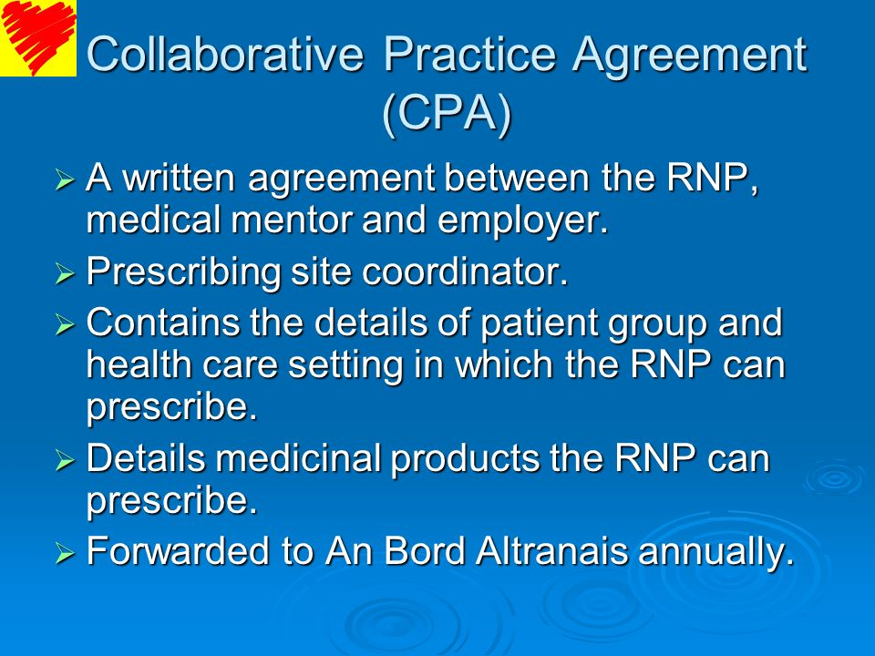 Collaborative Practice Agreement (CPA)