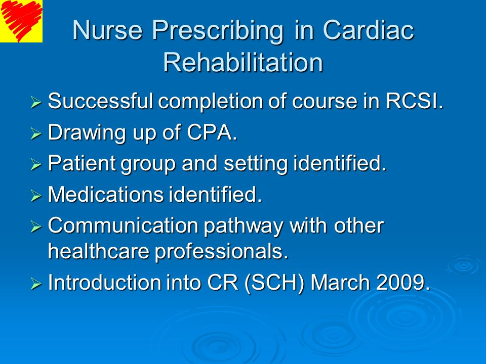 Nurse Prescribing in Cardiac Rehabilitation
