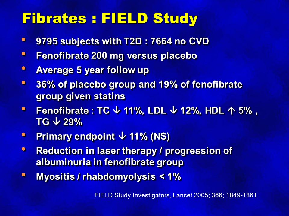 Fibrates : FIELD Study 9795 subjects with T2D : 7664 no CVD