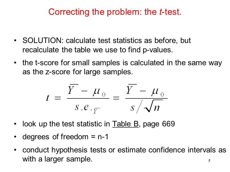 Statistics solution for small sample test.