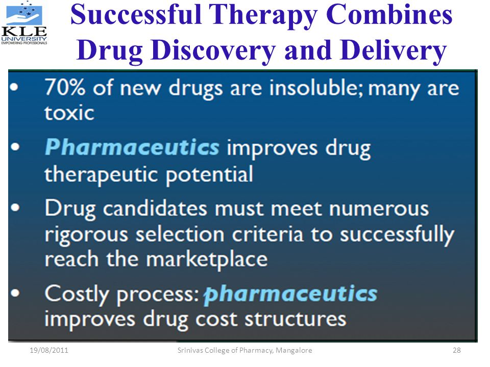 Successful Therapy Combines Drug Discovery and Delivery
