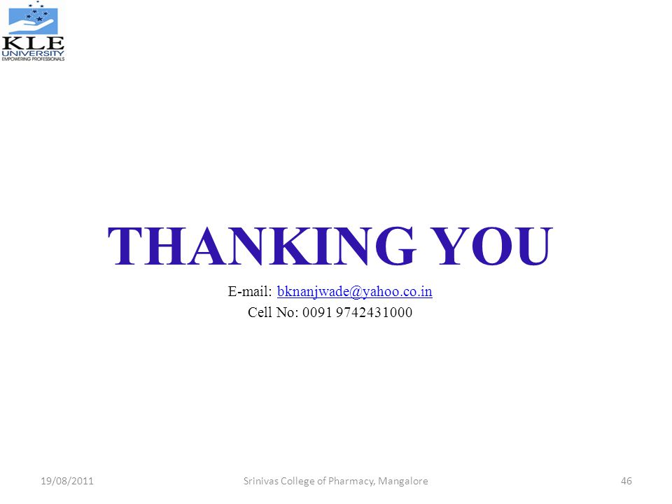 THANKING YOU   Cell No: