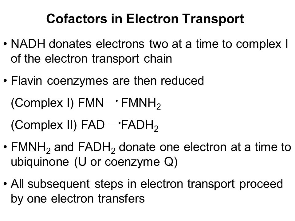 Cofactors in Electron Transport