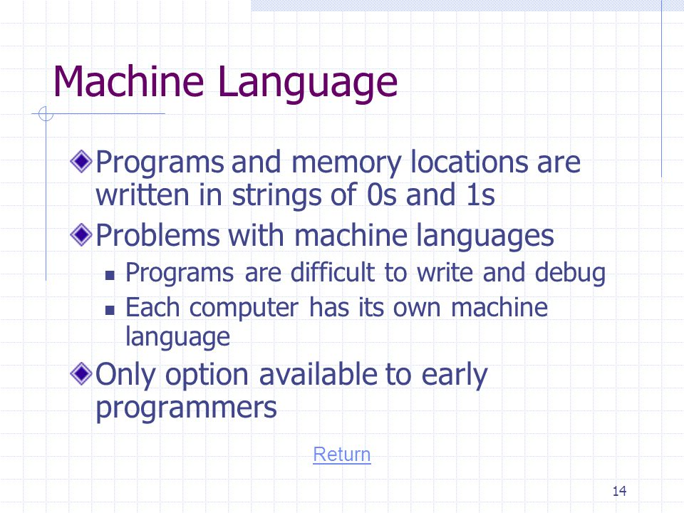 Machine Language Programs and memory locations are written in strings of 0s and 1s. Problems with machine languages.