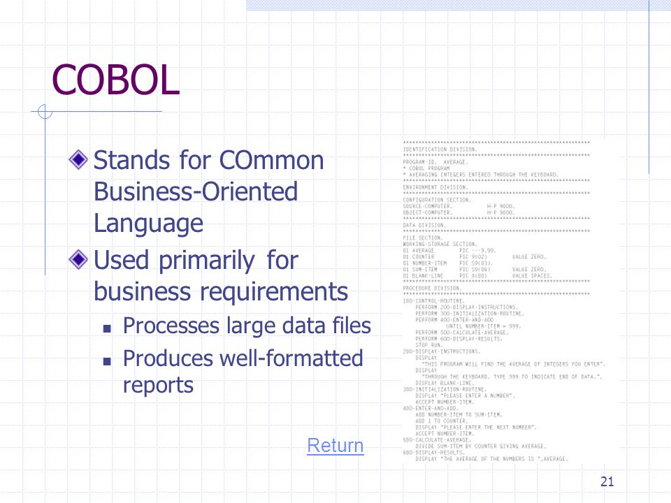 COBOL Stands for COmmon Business-Oriented Language