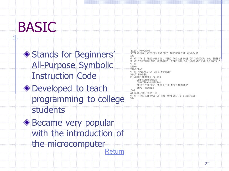 BASIC Stands for Beginners' All-Purpose Symbolic Instruction Code