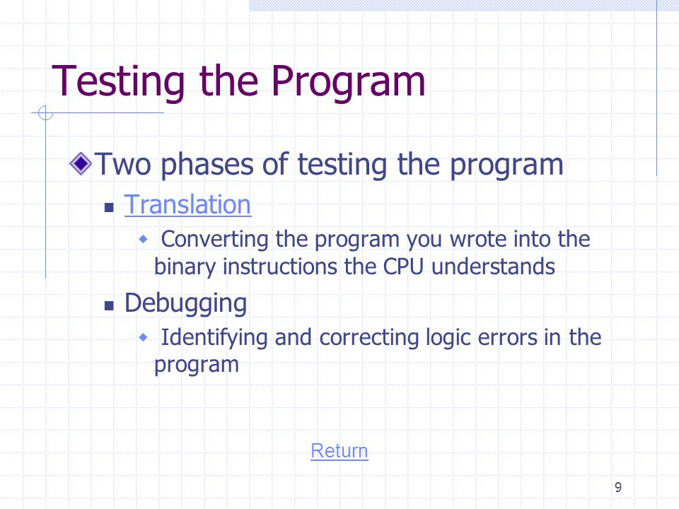 Testing the Program Two phases of testing the program Translation