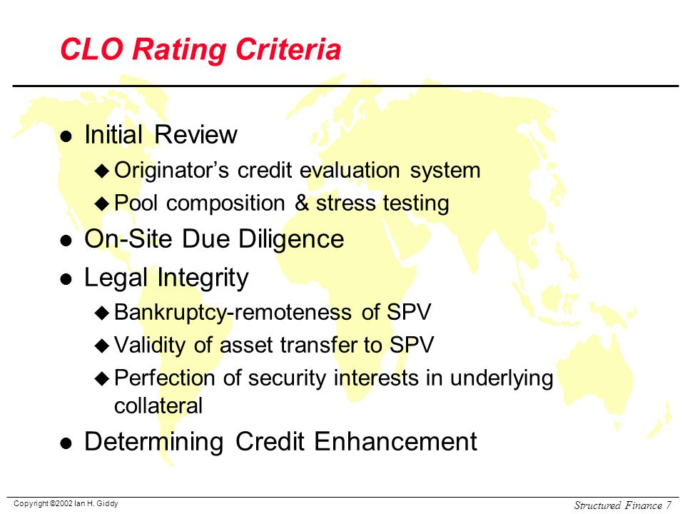 CLO Rating Criteria Initial Review On-Site Due Diligence
