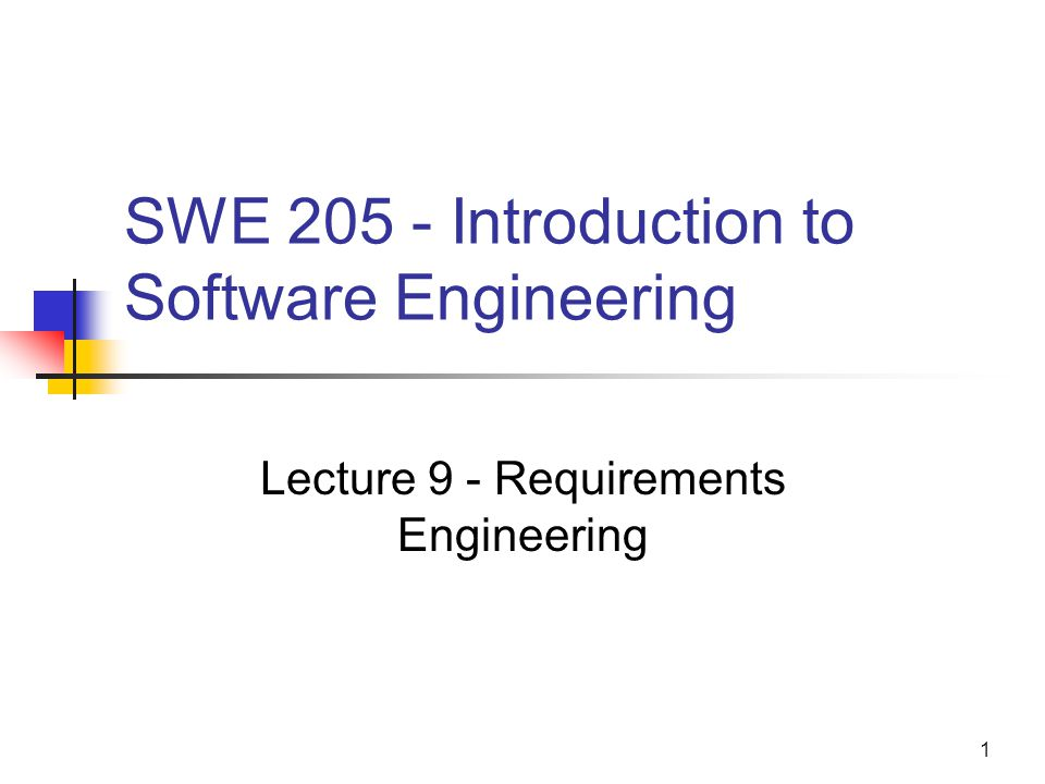 SWE Introduction to Software Engineering