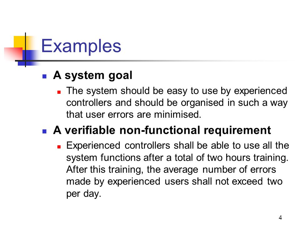 Examples A system goal A verifiable non-functional requirement