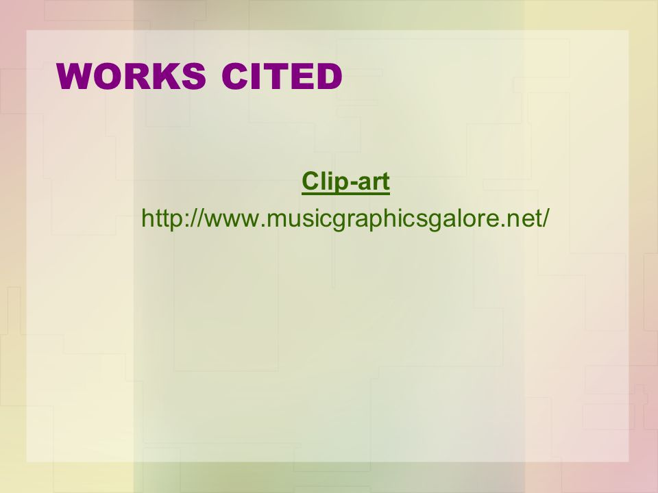 WORKS CITED Clip-art